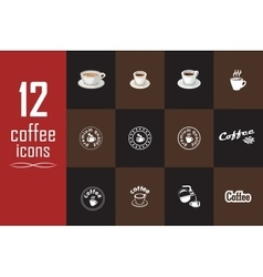 Set of coffee icons on the dark background vector image vector image