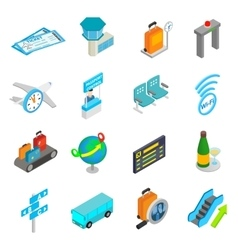 Airport isometric 3d icons vector