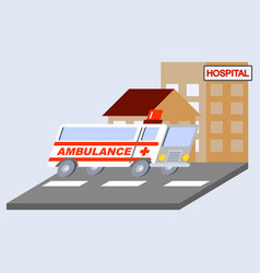 Ambulance flat skew icon vector