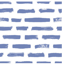 Artistic seamless pattern with blue brush strokes vector