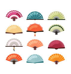 asian fans set traditional oriental decoration vector image