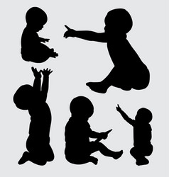 baby cute silhouette vector image