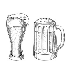 Beer glass mug or bottle of oktoberfest engraved vector