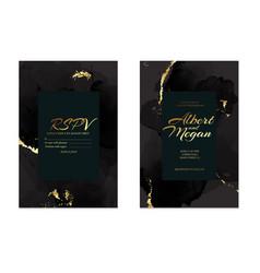 Black gold save date rsvp card wedding vector