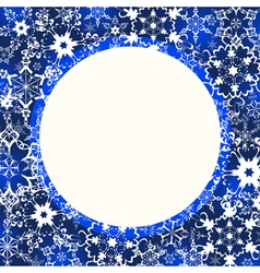 Blue winter frame with ornate snowflakes vector