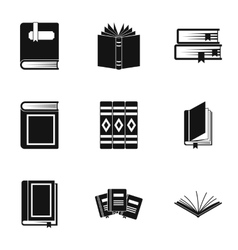 Books icons set simple style vector