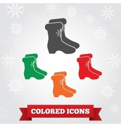 Boots icon Winter holiday Christmas symbol vector