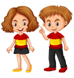 Boy and girl wearing shirt with spain flag vector