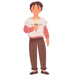 Boy eating ice cream primary schoolboy human vector