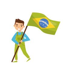 boy holding national flag of brazil design vector image