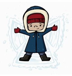 Boy making snow angels winter christmas cartoon vector