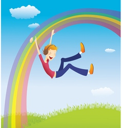 Boy on the rainbow vector image