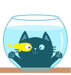 Cat looking through aquarium glass playing with vector