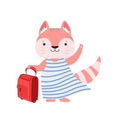 Cheerful tourist cat with suitcase cute animal vector