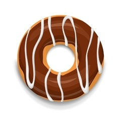 Chocolate donut icon cartoon style vector image