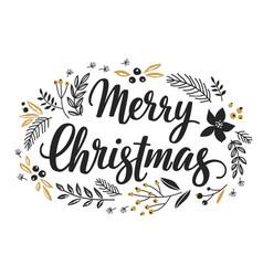 christmas callygraphic wreath vector image
