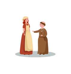 Cinderella with monk fairytale avatar character vector