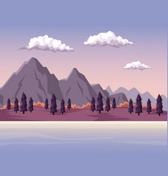 Colorful background with dawn mountain valley vector