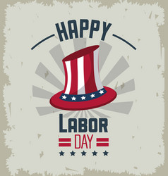 Colorful emblem of happy labor day with american vector
