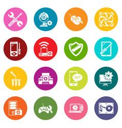 computer repair service icons set colorful circles vector image