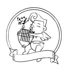 cupid with harp on round emblem sketch vector image