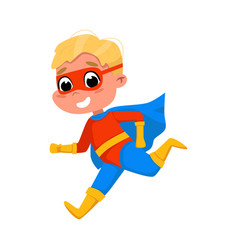 Cute boy running wearing superhero costume and vector