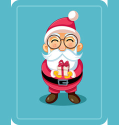 cute cartoon santa holding christmas present vector image