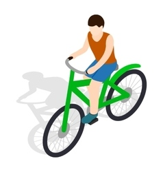 Cyclist riding a bike icon isometric 3d style vector image