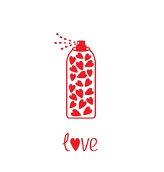 Deodorant spray with hearts inside card vector