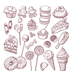 Doodle pictures of different desserts vector