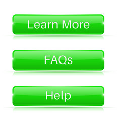 Faqs learn more help buttons green 3d icons vector