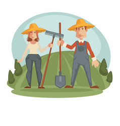 Farmers in straw hats with equipment on field vector