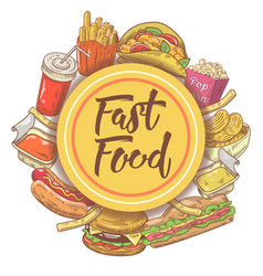 fast food hand drawn design with sandwich burger vector image