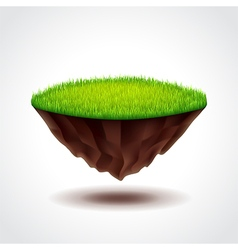 Floating island with green grass vector