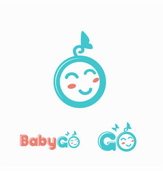 fun and cute baby face logo icon template vector image