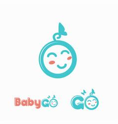 fun and cute baface logo icon template vector image