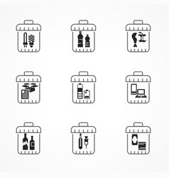 Garbage waste recycling icons vector