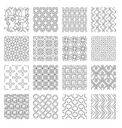 geometric abstract monochrome seamless patterns vector image