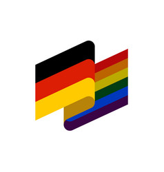 germany and lgbt flag symbol of tolerant vector image