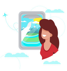 Girl looks out window plane vector