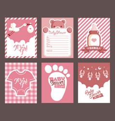 girl pink bashower invitation greeting cards vector image