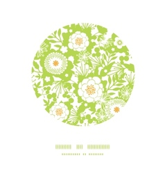 Green and golden garden silhouettes circle decor vector