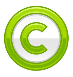 Green copyright symbol sign glossy icon vector