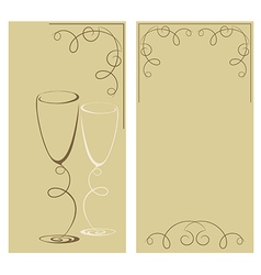 Greeting card with two wine glasses vector