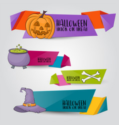 Halloween banner set horizontal design vector