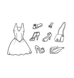 hand drawn collection of fashion icons vector image