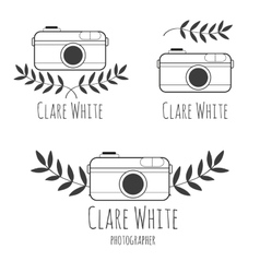 Hand drawn logo for photographer with camera vector
