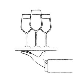 Hand holding tray with champagne wine glasses vector