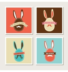 happy hipster easter - set stylish bunny cards vector image