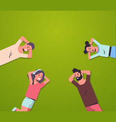happy people group lying on grass young friends vector image